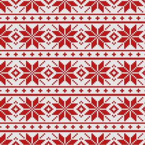 Skandinavian red knitted pattern