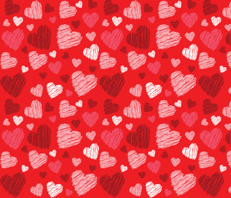 valentine doodle hearts fabric by svetlana_prikhnenko on Spoonflower - custom fabric