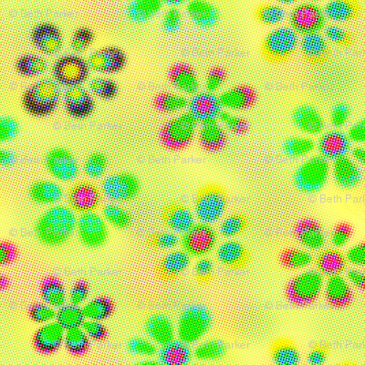 Psychedelic Flowers_Yellow_Halftone2