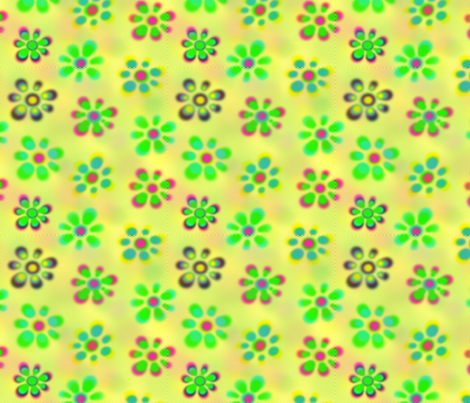 Psychedelic Flowers_Yellow_Halftone2 fabric by craftscrazy on Spoonflower - custom fabric
