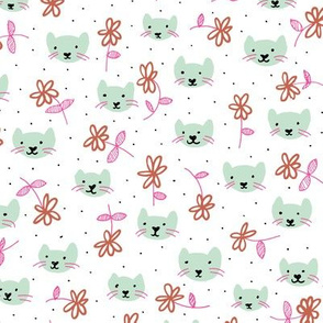 Sweet flowers and cats cool kitten illustration print in mint and pink