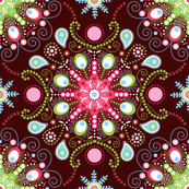 Pointillism mandala | Brown, red and green