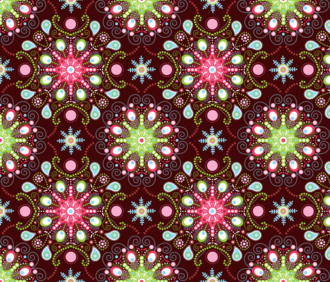Pointillism mandala | Brown, red and green fabric by camcreative on Spoonflower - custom fabric
