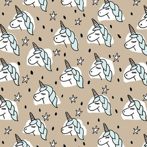 Dreaming unicorn night kawaii stars gender neutral beige