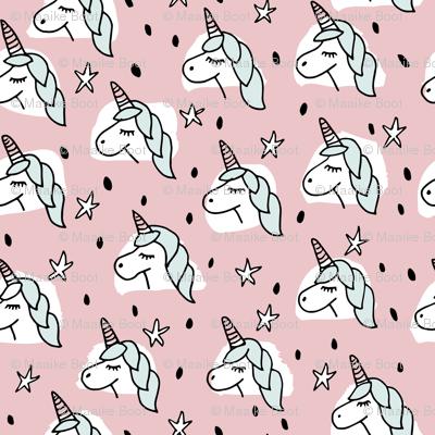 Dreaming unicorn night kawaii stars pink mint girls sparkle
