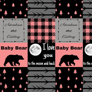 Coral Baby Bear - I love you to the moon - wholecloth