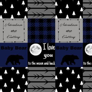 Deep blue - baby bear - Ilove you to the moon - wholecloth