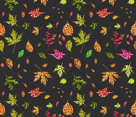 Falling Glitter Leaves and Shimmering Flying Birds fabric by irishvikingdesigns on Spoonflower - custom fabric