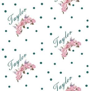 Taylor florals - teal polka dot