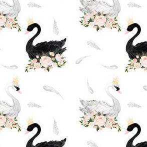 "4"" Black & White Swan with Feathers"
