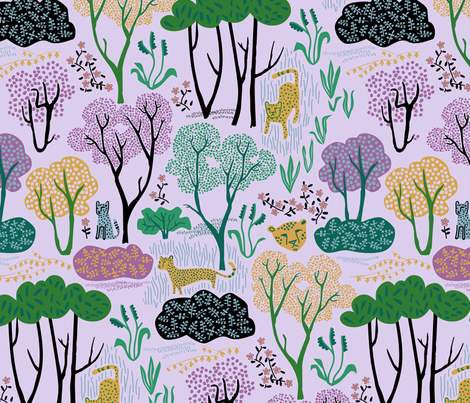Cheetahs on Lavendar fabric by chris_jorge on Spoonflower - custom fabric