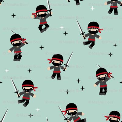 Little Ninja warrior zorro boys fighting with swords red mint