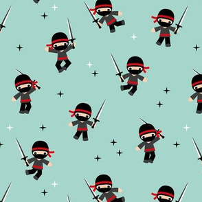 Little Ninja warrior boys fighting with swords red mint