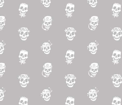 Skull Job B&W fabric by veesanchez on Spoonflower - custom fabric