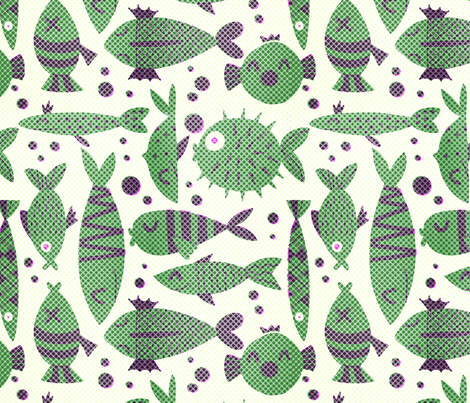 Pointillist halftoned fishes fabric by natalia_gonzalez on Spoonflower - custom fabric