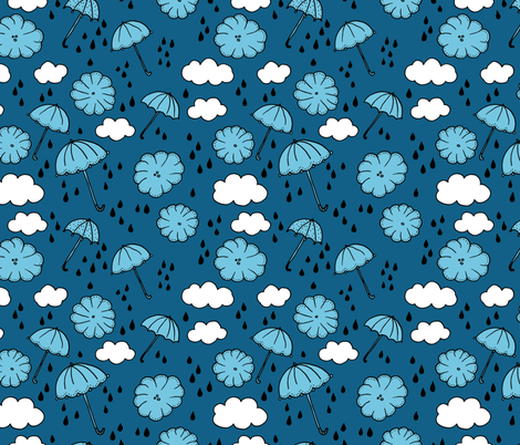 Rainy day head in the clouds umbrella love  illustration blue pattern design fabric by littlesmilemakers on Spoonflower - custom fabric