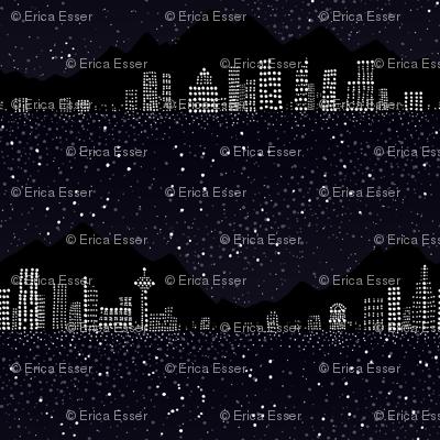 Pointillism: Night city and starry sky