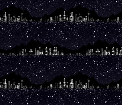 Pointillism: Night city and starry sky fabric by mamagiraffe on Spoonflower - custom fabric