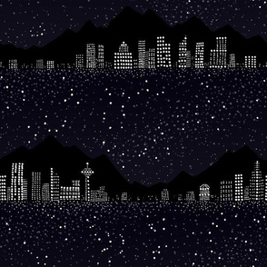 Pointillism: Night city and starry sky