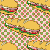 Submarine Sandwich on Polka Dots