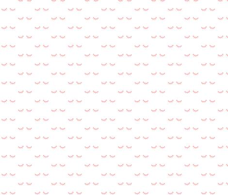 mod baby » just sleepy eyes coral on white fabric by misstiina on Spoonflower - custom fabric