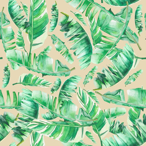 "21"" Floral Tropical Leaves / Background Color E7D8B7"