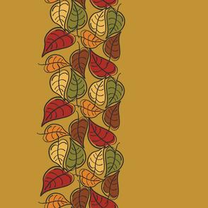 Fallen Leaves Border on Gold Leaf
