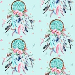 "3"" Pink and Aqua Dream Catcher / Blue"