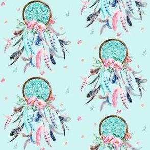"3"" Pink and Aqua Dream Catcher / Blue"