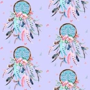 "3"" Pink and Aqua Dream Catcher / Lavender"