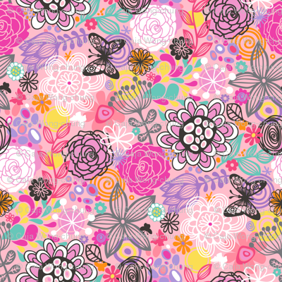 Floral Doodle with butterfly in Pink
