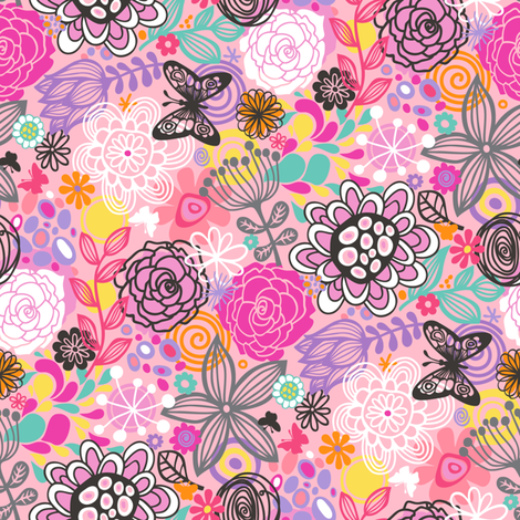 Floral Doodle with butterfly in Pink fabric by caja_design on Spoonflower - custom fabric
