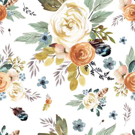 "8"" Western Autumn / More Florals / White fabric by shopcabin on Spoonflower - custom fabric"