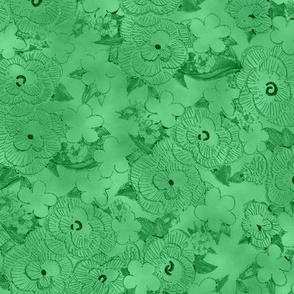Ruffle Flowers Embossed Solid - Green
