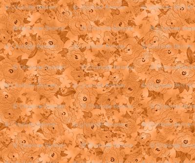 Rufffle Flowers Embossed Solid - Orange