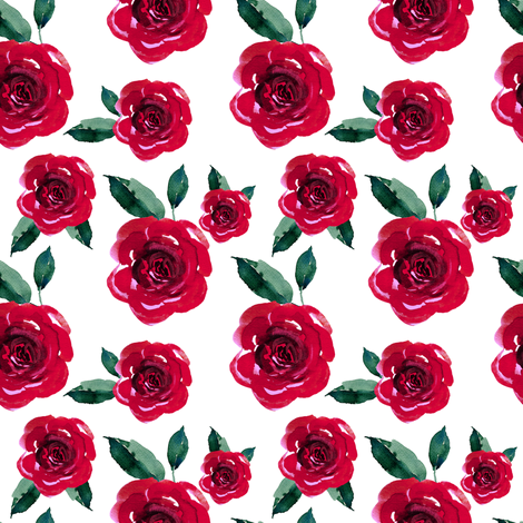 """4"""" Winter Roses / White fabric by shopcabin on Spoonflower - custom fabric"""