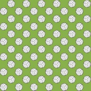 Half Inch Black and White Volleyballs on Greenery Green