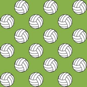 One Inch Black and White Volleyballs on Greenery Green