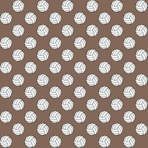 Half Inch Black and White Volleyballs on Taupe Brown