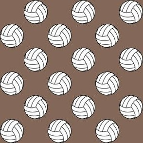 One Inch Black and White Volleyballs on Taupe Brown