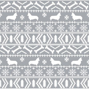 Corgi fair isle christmas sweater fabric welsh corgis dog breed grey