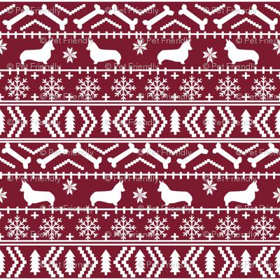 Corgi fair isle christmas sweater fabric welsh corgis dog breed maroon