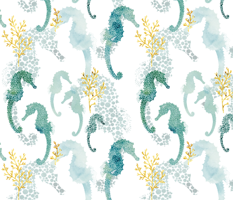 Pointillism Seahorse fabric by adenaj on Spoonflower - custom fabric