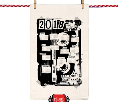 2018 Tea Towel Calendar: All Ages Show || punk rock flyer black and white diy cut sew concert poster graphic design Xerox photocopy