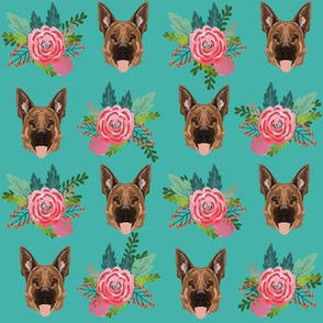 german shepherd dog fabric cute florals and dogs german shepherd design - turquoise