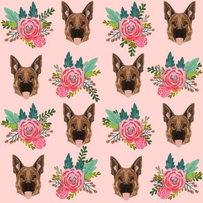 german shepherd dog fabric cute florals and dogs german shepherd design - pink