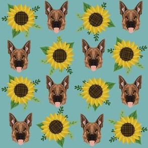 german shepherd dog fabric cute sunflowers and dogs german shepherd design - blue