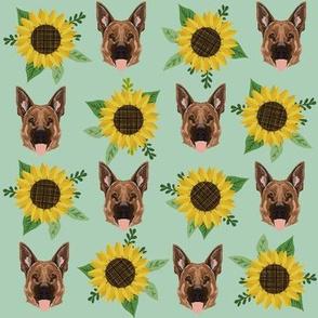 german shepherd dog fabric cute sunflowers and dogs german shepherd design - mint