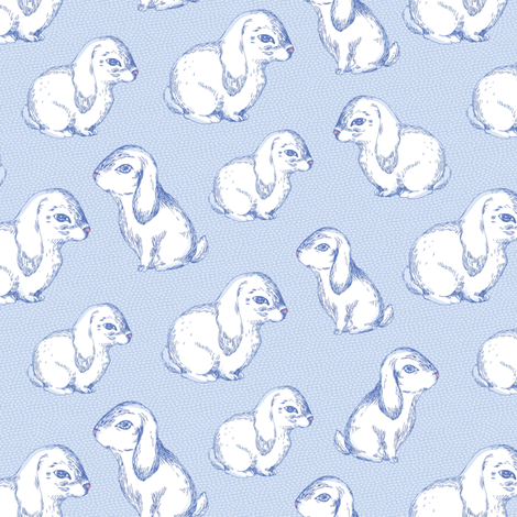 Blue rabbit fabric by dariara on Spoonflower - custom fabric