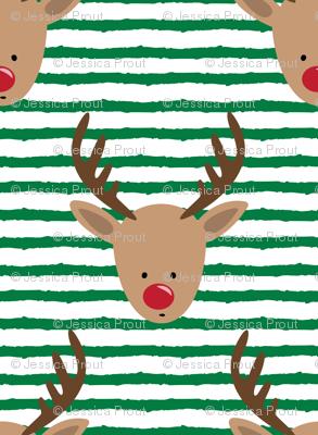 (micro print) rudolph - reindeer - green stripes